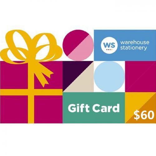 Warehouse Stationery Physical Gift Card $60 NZD 预付充值礼品卡,物理卡需快递,闪电发货!
