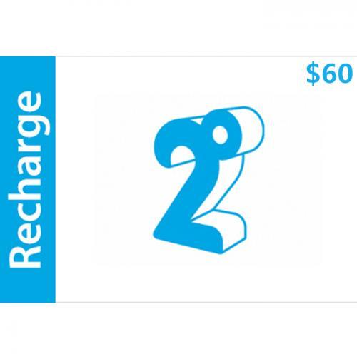 2degrees Mobile Prepay Digital Gift Card $60 NZD 数字预付充值礼品卡,虚拟卡免快递,E-Mail邮件秒收货!