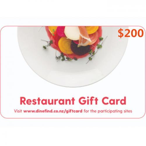 Restaurant Physical Gift Card $200 NZD 预付充值礼品卡,物理卡需快递,闪电发货!