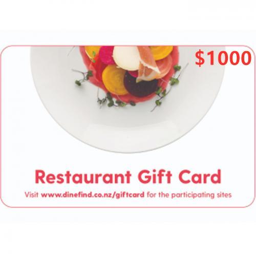Restaurant Physical Gift Card $1000 NZD 预付充值礼品卡,物理卡需快递,闪电发货!