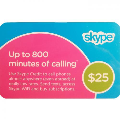 Skype Credit Digital Prepaid Gift Card $25 NZD 数字预付充值礼品卡,虚拟卡免快递,E-Mail邮件秒收货!
